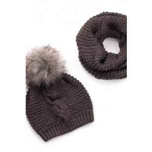 Komplektas (kepurė + šalikas) Wygodna Brązowa