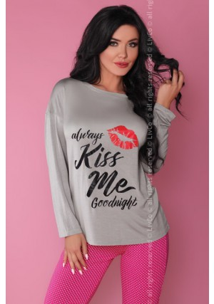 Pižama Sweet Kiss Grey-Pink