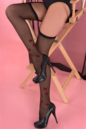 Seksualios prisegamos kojinės Crimson Lipstick